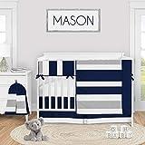 Sweet Jojo Designs Navy Blue and Grey Stripe Baby Boy Nursery Crib Bedding Set - 5 Pieces - Gray White