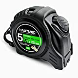 HAUTMEC 16 Ft (5m) Easy to Read Heavy Duty Tape Measure, Imperial Metric Inches Scale, with Retractable Nylon Coated Measuring Tape Ruler Blade and Sturdy Shock Absorbent ABS Rubber Case HT0100-TM