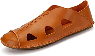 Shoes Comfortable Beach Water Sandal for Men Casual Flat Shoes Slip on Synthetic Leather Closed Toe Stitching Fashion (Color : Orange, Size : 7 UK)
