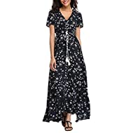 VintageClothing Women's Floral Maxi Dresses Boho Button Up Split Beach Party Dress