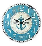 Reloj de Pared Decorativo de Madera Multicolor Ancla Azul .Adornos. Decoración Hogar. Muebles Auxiliares. Menaje . Regalos Originales. 34 x 4 x 34 cm.
