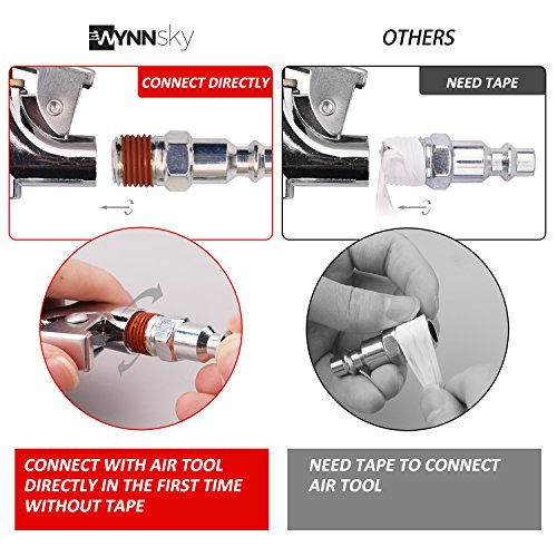 WYNNsky Air Compressor Kit, 1/4 Inch NPT Air Tool Kit with 1/4 Inch x 25Ft Coil Nylon Hose / Tire Gauge - 20 Pieces