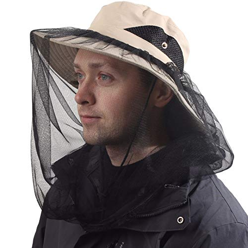 Beekeepers Hat w/Removable Mosquito Head Net for Outdoors UV Protective KH Khaki