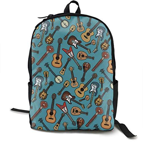HGHGH Laptop Outdoor Rucksack Reisen Wandern & Camping Rucksack Pack Lässig Große College School Daypack Schulterbuch Taschen Zurück Klassische Mode Gitarre Musik Instrumententasche