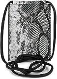 styleBREAKER Bolso de Bandolera para el móvil de Mujer en óptica de Piel de Serpiente, Bolso de Hombro, Bolso de Mano para el móvil, minibolso 02012306, Color:Negro-Blanco