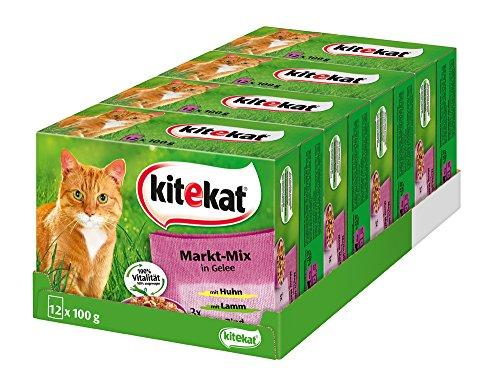 Kitekat Katzenfutter Markt-Mix in Gelee, 48 Beutel (4 x 12 x 100 g)