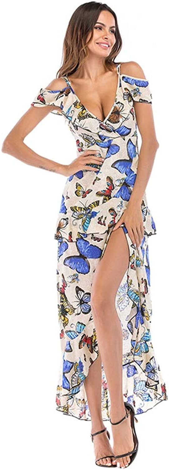 CARRY Dress, European and American Women's Comfortable and Soft Large Floral Floral Deep VNeck Irregular Sling Dress (color   color2, Size   L)