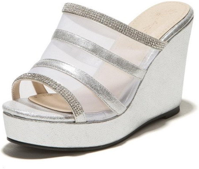 AmoonyFashion Women's Mesh Legging Open Toe High Heels Pull On Solid Slippers