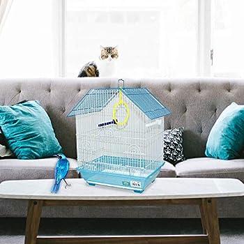 DZL - Cage à oiseaux en métal 34,5 x 26 x 44 cm avec mangeoire balançoire, cage à sauter pour nénuphars (couleur bleue)