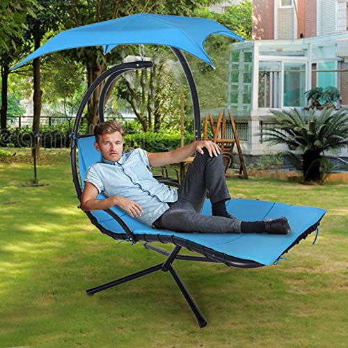 Pacoco Best Choice Products Outdoor Hanging Curved Steel Chaise Lounge Chair Swing w/Built-in Pillow and Removable Canopy, (Blue)