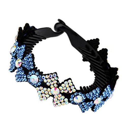 Mesdames Elegant Rhinestones Hair Bun Décor Ponytail Clip Hair Accessories, No.7