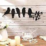 Metal Bird Wall Art 5 Birds on the Branch Wall Decor Leaves with Birds Metal Sculpture Bird Silhouette Metal Ornament Branch Wall Hanging Sign for Balcony Garden Home Indoor Outdoor Decoration