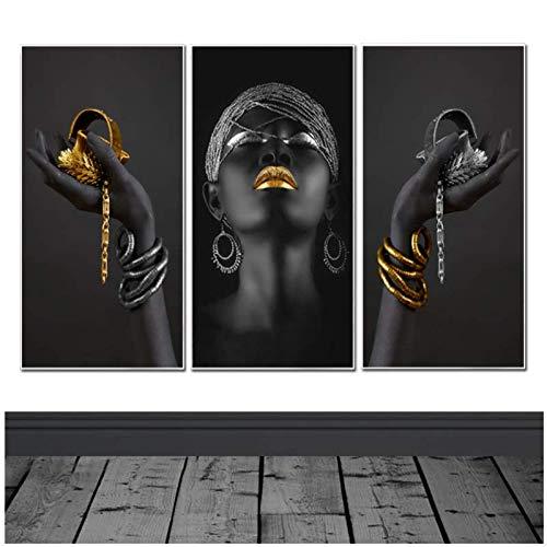 Arte africano Mujer negra con joyas doradas Pintura de pared Carteles e impresiones Arte de pared Cuadro en lienzo para decoración de habitaciones 40x80cm (16x32in)