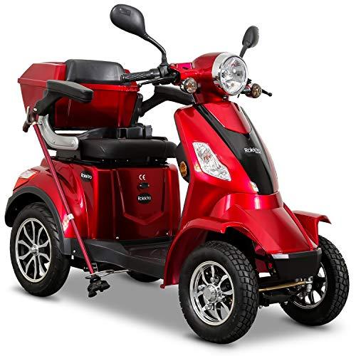 Rolektro E-Quad 25 km/h Elektromobil Rot - 4-Rad Elektroroller 1000W - RW 50km - Koffer Rückwärtsgang USB EU-Zulassung