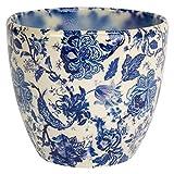Ivyline Monza Vintage Blue Planter Plant Pot Flower Pot 6' | Blue and White Planter for Indoor Plants
