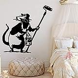 PMSMT Moda Banksy Mouse Etiqueta de la Pared extraíble PVC Impermeable calcomanías de Agua Accesorios para el hogar calcomanías de Pared