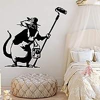 ファッションバンクシースタイルおかしいマウスラット画家動物ビニールウォールステッカーデカールキッズ保育園寝室リビングルームオフィススタジオ家の装飾壁画
