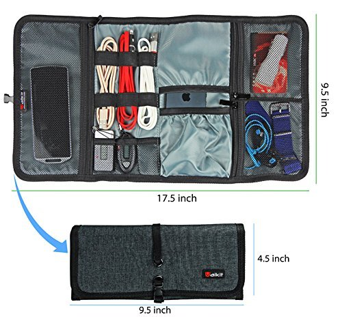 Cable Organizer, Travel Organizer, Valkit Best Electronics Accessories Wire Cord Cables Tires Wrap Case Cover Bags Rolling Organizer Fit Cosmetic for Weekender Travel Management, Small Size-Dark Grey