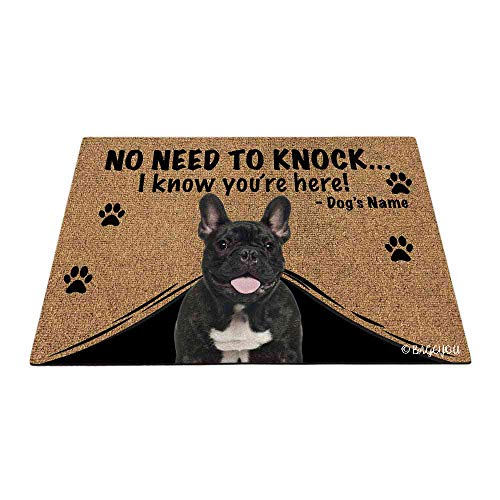 BAGEYOU Personalized Dog's Name Outdoor Doormat with My Love Dog French Bulldog Welcome Floor Mat Not Need to Knock I Know You're Here 27.5' x 17.7'