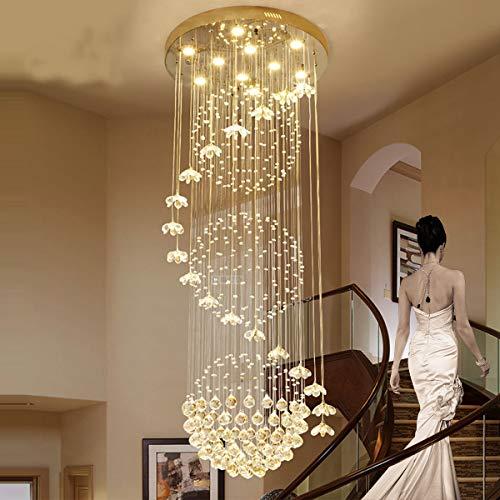 HIMAKOVO Crystal Raindrop Chandelier, Modern Flush Mount Ceiling Light Fixture, Transparent Crystal Petals, 3 Large Spherical Crystal, Elegant Wave Shape in Spiral for Villa Livingroom,50cm