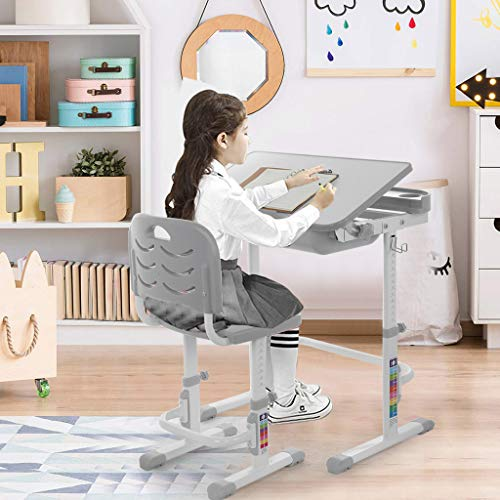 Awssya Kids Desk and Chair Set, Gray Height Adjustable Children Study Desk, Student School Reading Learning Writing Drawing Table with Tilted Desktop and Pull Out Drawer for Girls Boys, Great Gift