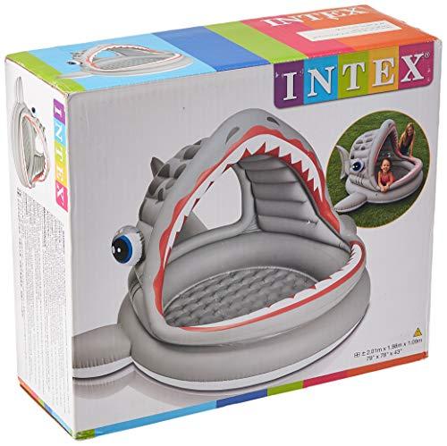 Intex 57120NP - Piscina hinchable tiburón 201 x 198 x 109 cm, 119 litros