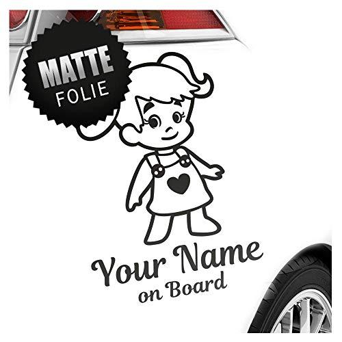 Babyaufkleber Mädchen Zöpfe Herz Sticker 25 Farben mit Wunschtext + on Board 15cm