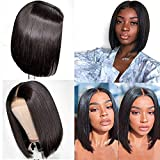 Bob Wigs Lace Front Human Hair pre plucked with Black Women Middle Part 4x4 Lace Closure Wig Bleached Knots with Baby Hair 150% Density Pre Plucked Glueless Raw Virgin Hair Wigs Natural Black 10""