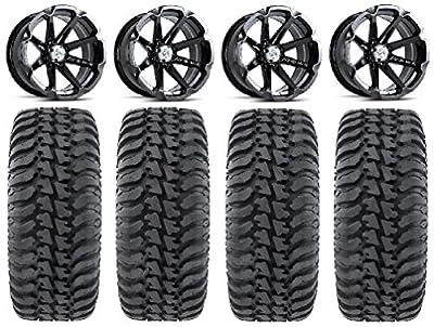 "Bundle - 9 Items: MSA Black Diesel 14"" ATV Wheels 30"" Regulator Tires [4x156 Bolt Pattern 12mmx1.5 Lug Kit]"