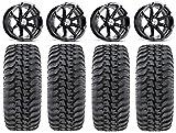 Bundle - 9 Items: MSA Black Diesel 14' ATV Wheels 30' Regulator Tires [4x156 Bolt Pattern 12mmx1.5 Lug Kit]