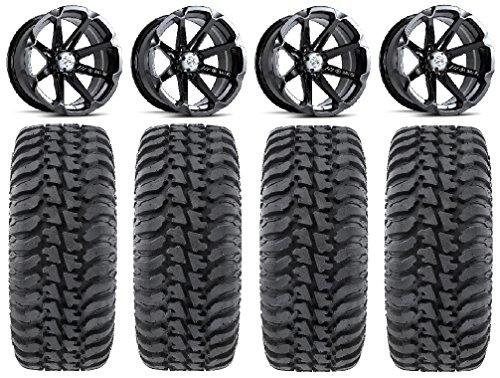 Bundle - 9 Items: MSA Black Diesel 14' ATV Wheels 28' Regulator Tires [4x137 Bolt Pattern 10mmx1.25 Lug Kit]