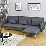 3 Seater Sofa Bed L Shaped Corner Chaise Sofa Left & Right Hand Side Linen Fabric in Grey