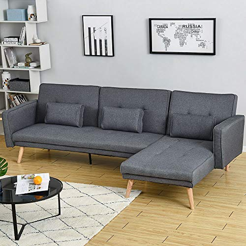 Panana 3 Seater Sofa Bed Linen Fabric Grey Sofa L Shaped Corner Sofa Bed Left or Right Hand Side Chaise Couch Settee Modern Recliner Chair for Living Room Lounge Office Guest Room