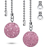 2 Pieces Bling Crystal Rhinestones Ball Pull Chain Each 20 Inch Adjusting Extension Chain for Ceiling Fan Pull Chain Switch Home DIY Ornament (Pink)