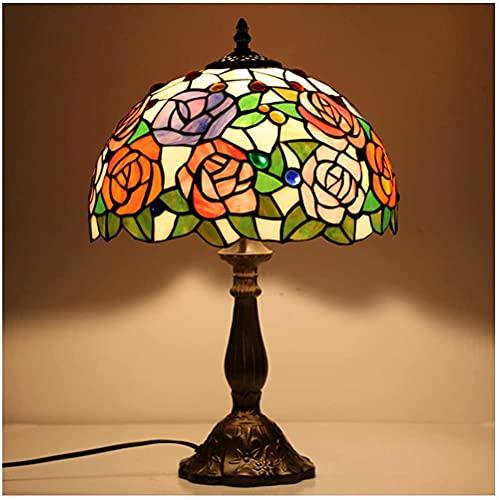 Lámparas de mesa de estilo Tiffany Lámpara de banquero Vidrio Manchado Hermoso Diseño de Rosa Shade Light Luz de noche antigua para sala de estar Dormitorio Cafe Hotel, W12H18 pulgada