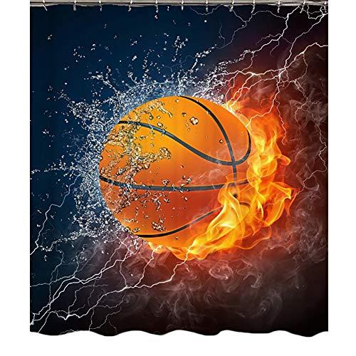 QJXX Feuer Basketball Sport Stil Duschvorhang 3D Wirkung Anti-Schimmel Anti-Bakteriell Umweltfre&lich Waschbar Bad Vorhang,180 * 200Cm
