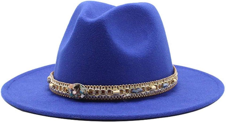 LHZUS Hats Women's Men's Wide Brim Cotton Jazz Fedora Hat Panama Style Cowboy Trilby Party Formal Dress Hat Braided Rope (Color : E Blue, Size : 59-61cm)