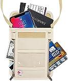 Passport Holder, Neck Wallet - RFID Blocking Hidden Security Travel Wallet Pouch Organizer Case for Women Men, Keep Your Money And Documents Safe - Beige