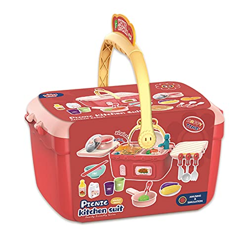 LQKYWNA Hermosa Canasta De Compras De Comestibles para Juegos, Juguetes para Juegos De Roles para Niños, Suministros De Cocina para Cocinar, Cuchara De Vinagre con Escurridor para Niños