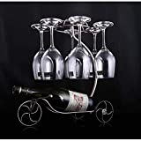 Estante para vinos Estantes Decorativos Soporte para Botellas de Vino Colgando Boca Abajo Copa Copas Estante de exhibición Soporte para Vino de Hierro Diseño artístico 38 (Color: Plus High Black)