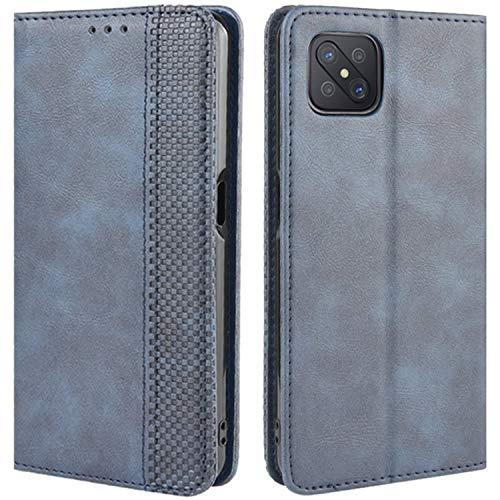 HualuBro Handyhülle für Oppo Reno4 Z 5G Hülle, Retro Leder Stoßfest Klapphülle Schutzhülle Handytasche LederHülle Flip Hülle Cover für Oppo Reno4 Z 5G Tasche, Blau