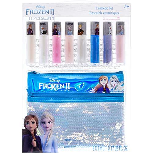 Townley Girl Disney Frozen 2 Anna und Elsa Lipgloss Set mit Paillettenbeutel, Alter 3+ - 9er Pack