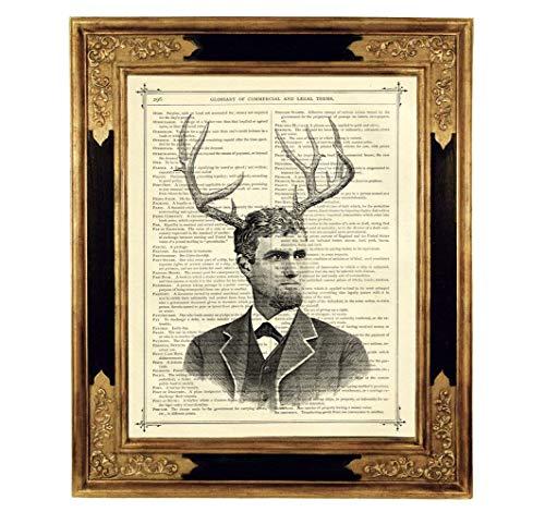 Viktorianischer Herr Geweih Portrait Poster Kunstdruck auf antiker Buchseite Geschenk Mann Hirschgeweih Steampunk ungerahmt