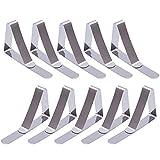 PEIUJIN 10 Stück Edelstahl Tischdecke Clips Tischklammern Tischdeckenklammer (Silber 10Pcs)