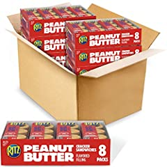 Forty-eight snack packs of 6 Nabisco RITZ Peanut Butter Sandwich Crackers Smooth peanut butter spread between two crisp round crackers Portable, go-anywhere snack packs for home, work or school Easy to pack for a convenient travel snack Filling made ...