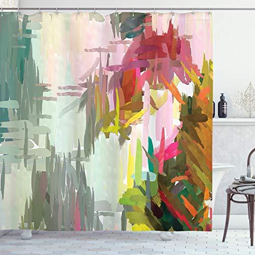 ABAKUHAUS Fine Art Douchegordijn, Olieverf Random Hits, stoffen badkamerdecoratieset met haakjes, 175 x 200 cm, Veelkleurig