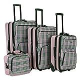 Rockland Fashion Softside Upright Luggage Set, Pink Cross, 4-Piece (14/20/24/28)