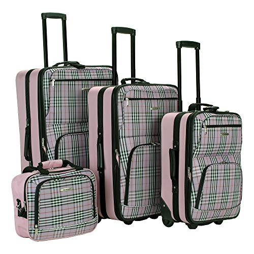Rockland Fashion Softside Upright Luggage Set, Pink Cross, 4-Piece (14/20/24/28)