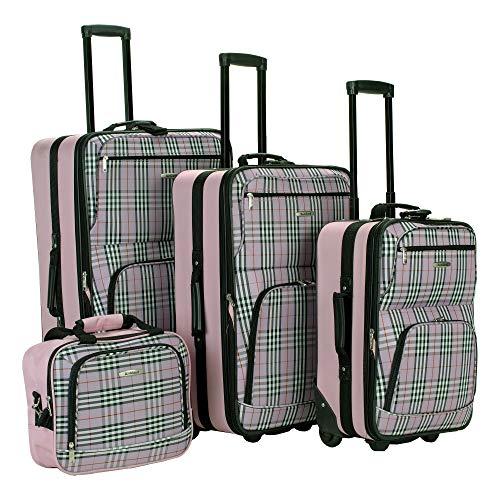 Rockland Fashion Softside Upright Luggage Set, Pink Cross