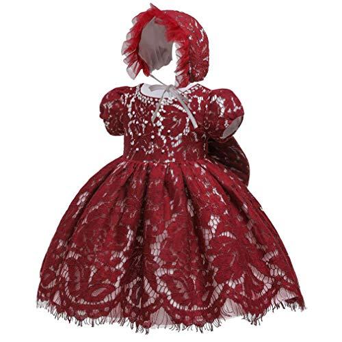 Gaga city Baby Spitzen Kleid Taufkleider Prinzessin Bowknot BlumenMädchenkleid Taufkleid Kleid Hochzeit Festzug Geburtstag Partykleid mit Mütze Dunkelrot/3M/59CM